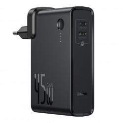 Incarcator rapid de perete cu functie si de baterie externa de 10 000 mAh ,Baseus GaN PPS 45 W 2x USB Type C Quick Charge 3.0 cu Power Delivery (nitrură de galiu) + cablu USB Type C 1 m negru (PPNLD-F01)