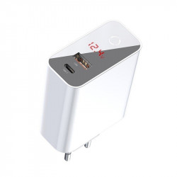 Incarcator rapid USB + USB-C Baseus PD + QC 3.0 45W (alb)