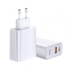 Incarcator retea Baseus Speed PPS Quick , C+U 30W EU USB / USB Type C PD Quick Charge 3.0 QC3.0 , alb