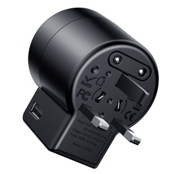 Incarcator telefon de voiaj si adaptor priza US/EU/UK/AU cu 2 porturi USB , Baseus Rotation Type , negru