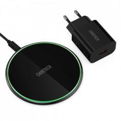 Incarcator wireless Choetech 15W + cablu USB Type C + 18W adaptor QuickCharge Black (T559-F)