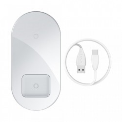 Incarcator wireless pentru smartphone-uri si AirPods , Baseus 18W alb (WXJK-02)