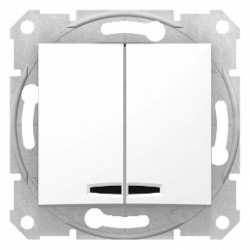 Intrerupator dublu alb cu led Sedna Schneider SDN0300321 - 1 modul