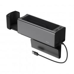 Organizator auto cu 2 porturi USB si suport pahar, Baseus (CRCWH-A01) , negru
