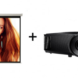 Pachet videoproiectie cu Videoproiector OPTOMA S334e, SVGA si Ecran proiectie manual, perete/tavan, 160 x 120 cm