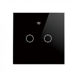 SmartWise T4 EU 2C WiFi + RF comutator de lumină inteligent controlabil de la distanță (funcționează numai cu live, fără neutru) (R2, negru)