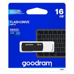 Stick USB Goodram pendrive 16 GB USB 2.0 20 MB/s (rd) - 5 MB/s (wr) flash drive black and white (UCO2-1280KWR11)