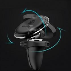 Suport auto magnetic rotatie 360 grade cu suport 2 cabluri si 2 placute cu adeziv pentru telefon incluse , Baseus , negru