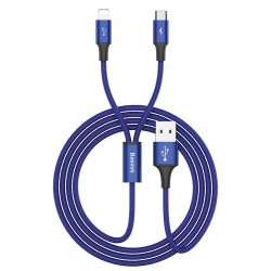 Cablu de date 2 in 1 Baseus Rapid 2in1 USB cable Lightning / micro USB 3A 1.2m albastru