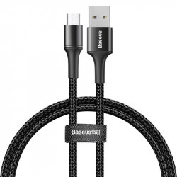 Cablu de date Baseus Halo Durable Nylon Braided Wire micro USB cu lumina LED 3A 0.5m black (CAMGH-A01)