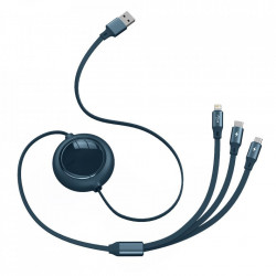 Cablu de incarcare 3in1 Baseus Bright Mirror CAMLT-MJ03, USB la Micro USB, Lightning, USB-C, 3.5A 1.2m, Albastru