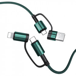 Cablu Joyroom 4in1 multifunction fast charging USB Type C / USB - USB Type C / Lighting Quick Charge Power Delivery 3 A 60 W 1,2 m verde (S-1230G3)