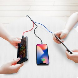Cablu pentru incarcare pentru toate tipurile de dispozitive, Baseus Three Primary Colors USB, cu mufe Micro-USB, USB-C, Lightning, 3A, 1,2M, negru