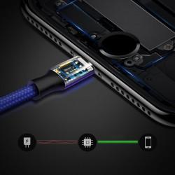 Cablu pentru incarcare pentru toate tipurile de dispozitive, Baseus Rapid USB, cu mufe Micro-USB, USB-C, Lightning, 3A, 1,2M, albastru