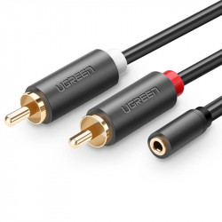 Cablu UGREEN AV102 2x RCA cable (Cinch) jack 3.5 mm 1m (black)