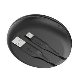 Cablu UNIQ MFI Halo cu cablu retractabil Lightning 2.4A 1.2m - negru