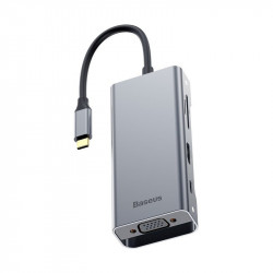 Hub USB-C la 3x USB 3.0 + HDMI + VGA + USB-C PD + SD + microSD , Baseus, gri