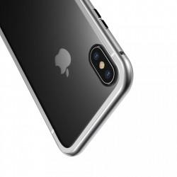 Husa de protectie hibrida din sticla transparenta si rama magnetica, Baseus Magnetite , iPhone XS Max, contur argintiu