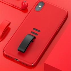 Husa telefon, Baseus Little Tail, cu curea ajustabila din silicon, pentru iPhone XS / X, rosu