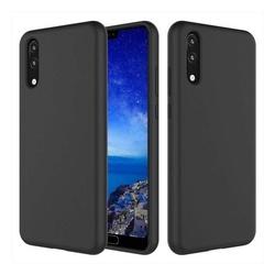 Husa telefon din silicon flexibil cu interior din material impotriva zgarieturilor , Gema Mixt pentru Huawei P20 , negru