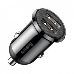 Incarcator auto Baseus Grain Pro 2x USB 4,8 A black (CCALLP-01)