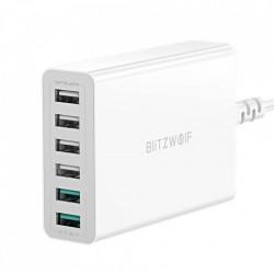 Incarcator Blitzwolf BW-S15 6x USB, QC 3.0, 60 W (alb)