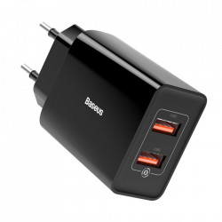 Incarcator priza Baseus fast charge 2x USB 18 W 3 A Quick Charge 3.0 negru (CCFS-V01)