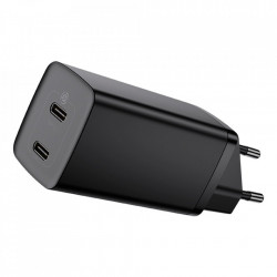 Incarcator priza Baseus GaN2 Lite Quick Charger 2x USB Typ C 65 W Power Delivery 3.0 Quick Charge 4+ SCP FCP AFC black (CCGAN2L-E01)