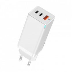Incarcator rapid de priza Baseus GaN PPS 65W USB / 2x USB Typ C Quick Charge 3.0 Power Supply SCP FCP AFC (nitrura de galiu) alb (CCGAN-B02)
