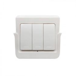 Intrerupator de perete RF fara fir SmartWise RFM3 cu 3 ganguri, detasabil de pe suport