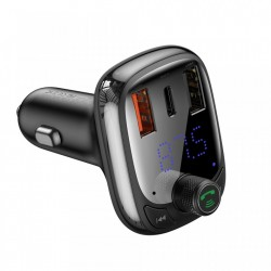 Modulator FM bluetooth 5.0 si incarcator, Baseus Quick Charge 4.0 Power Delivery USB Typ C / microSD 5A black (CCTM-B01)