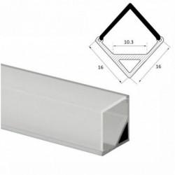 Profil banda LED, montaj aplicat, aluminiu, 1m, 16x 16 mm