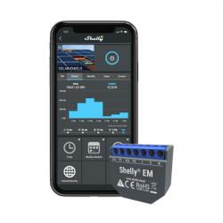 Releu Wi-Fi 2 canale Shelly EM, cu monitorizare consum de energie si controler de contact