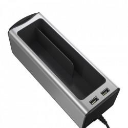 RESIGILAT - Organizator auto cu 2 porturi USB si suport pahar, Baseus (CRCWH-A0S) , gri