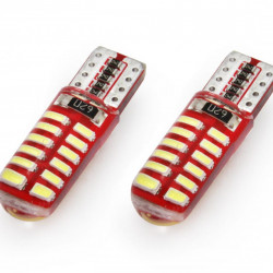 Set 2 x LED CANBUS 24SMD 3014 T10e (W5W) SILCA White 12V