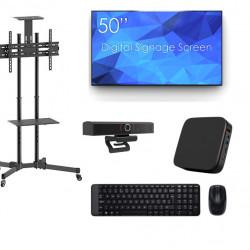 Sistem videoconferinta cu display SWEDX SDS50K8-01, Stand T28, camera SEEUP, mini PC J4105 si kit Logitech