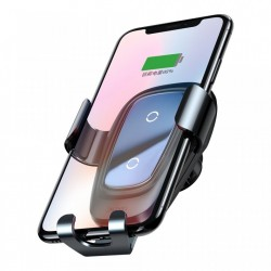 Suport auto Baseus Wireless Fast Charger Gravity Metal cu incarcare wireless QI , negru