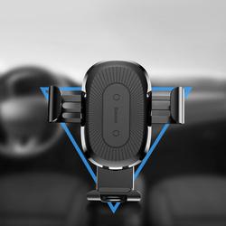Suport Baseus Auto Gravity cu Wireless Charger Black (incarcare Qi, prindere la sistemul de ventilat (WXYL-01)