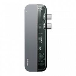 Hub multifunctional Baseus 2x USB Typ C Adapter USB Typ C PD (60W in) / USB Typ C (15W out) / HDMI 4K / 2x USB 3.0 for MacBook Pro , gri (CAHUB-TS0G)