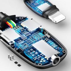 Adaptor Lightning la Jack 3.5mm + 2x Lightning(mama), Baseus Audio Converter L51 HUB, albastru