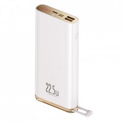 Baterie externa Baseus 20000mAh 22,5W Quick Charge PD3.0 QC3.0 SCP FCP 2x USB + USB Type C alba (PPXC-01)