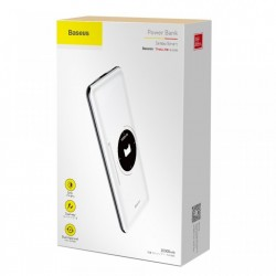 Baterie externa , Baseus Simbo Smart , 10000mAh , 1 x USB C PD , 1 x Lightning 1 x USB , 3A , alb