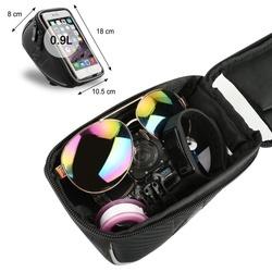 Borseta bicicleta Wozinsky cu husa telefon impermeabila pentru telefoane pana in 6.5 inch, cablu jack 3.5 mm inclus , montare pe ghidon , 0.9 L , neagra