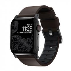 Bratara din piele hidrofoba Nomad Active Pro Maro + Negru - Apple Watch 44/42 mm