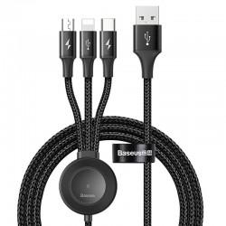 Cablu de date 4 in 1 Baseus Star Ring Lightning / USB Typ C / micro USB 1.2m + incarcator Qi wireless pentru Apple Watch , gri