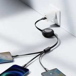 Cablu de date USB la Micro-USB, Lightning, Type-C Baseus, 66W, 1.2m, negru, CAMLC-MJ01