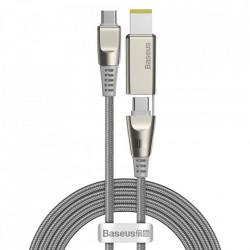 Cablu de incarcare si date Baseus 2in1 USB - USB Typ C / Lenovo (mufa patrata) Adaptor DC mufa laptop 2 m 100 W 5 A gri (CA1T2-B0G)
