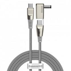 Cablu de incarcare si date Baseus 2in1 USB - USB Type C / 5,5 mm x 2,5 mm Adaptor DC mufa laptop 2 m 100 W 5 A gri (CA1T2-A0G)