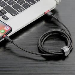 Cablu Lightning pentru iPhone, QC3.0 , 2.4A , 0.5M, BASEUS Cafule Durable Nylon, negru + rosu