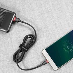 Cablu micro USB QC3.0 1.5A , 2M, BASEUS Cafule Durable Nylon, negru + rosu